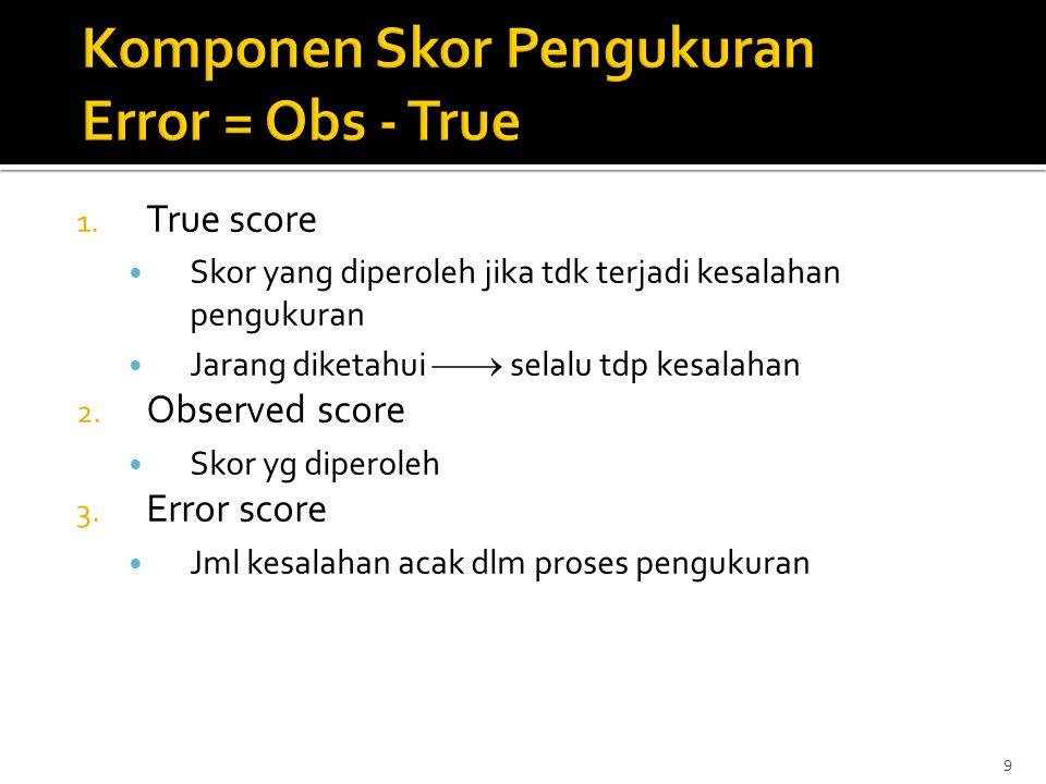 Komponen Skor Pengukuran Error = Obs - True