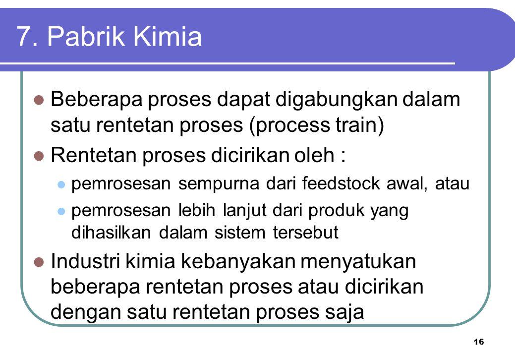 7. Pabrik Kimia Beberapa proses dapat digabungkan dalam satu rentetan proses (process train) Rentetan proses dicirikan oleh :