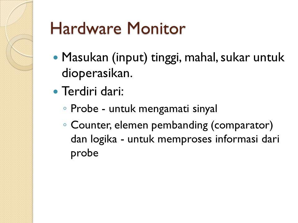 Hardware Monitor Masukan (input) tinggi, mahal, sukar untuk dioperasikan. Terdiri dari: Probe - untuk mengamati sinyal.