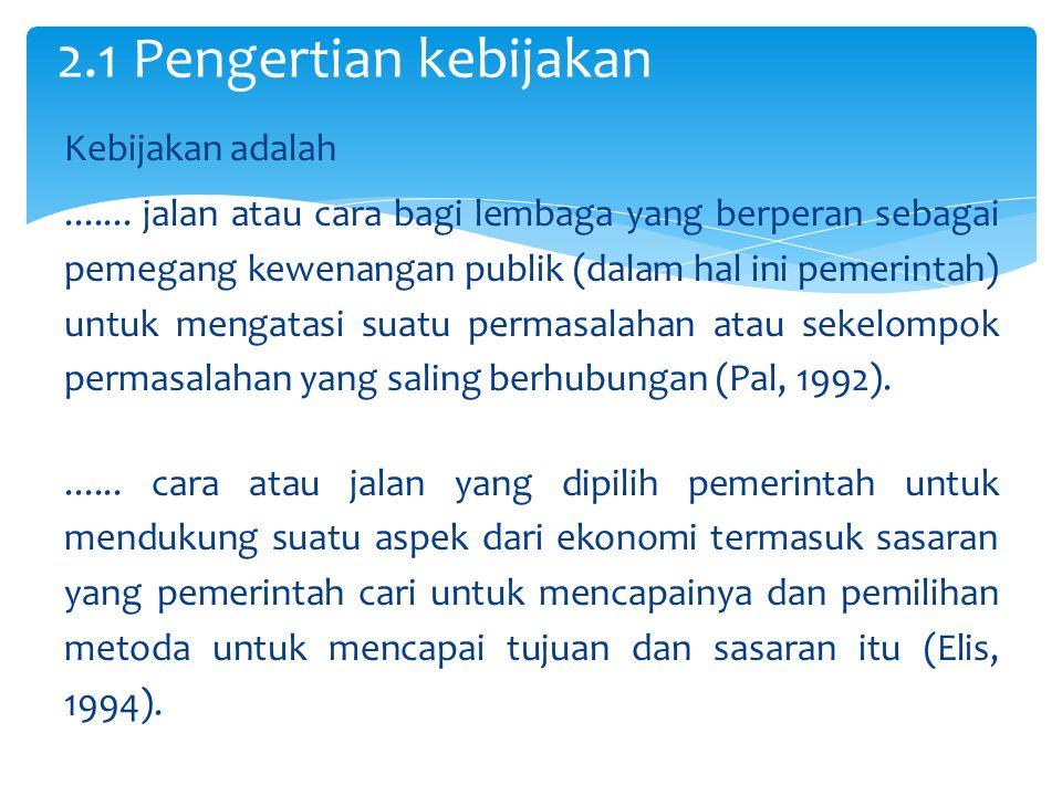 2.1 Pengertian kebijakan