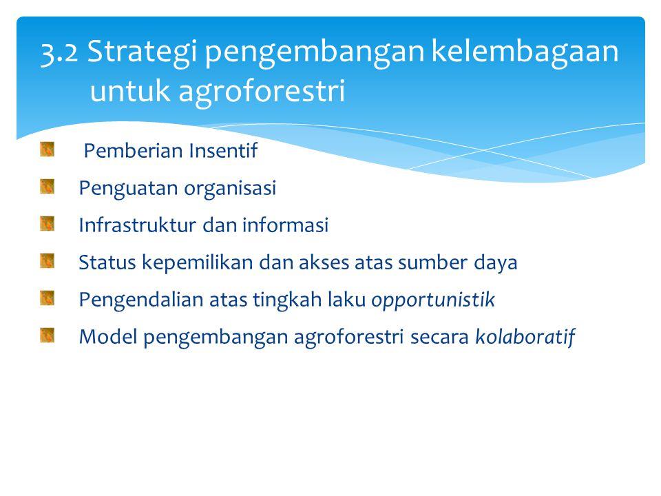 3.2 Strategi pengembangan kelembagaan untuk agroforestri