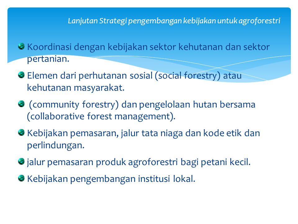 Lanjutan Strategi pengembangan kebijakan untuk agroforestri