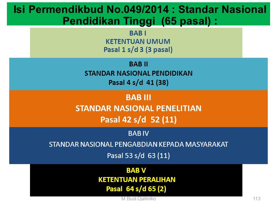 Isi Permendikbud No.049/2014 : Standar Nasional Pendidikan Tinggi (65 pasal) :