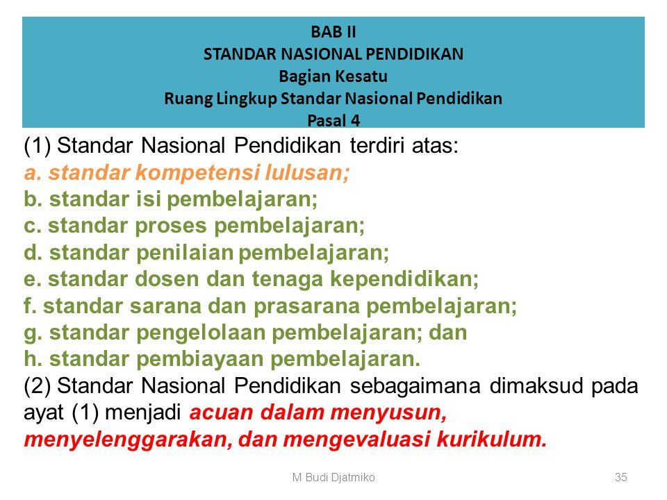STANDAR NASIONAL PENDIDIKAN Ruang Lingkup Standar Nasional Pendidikan