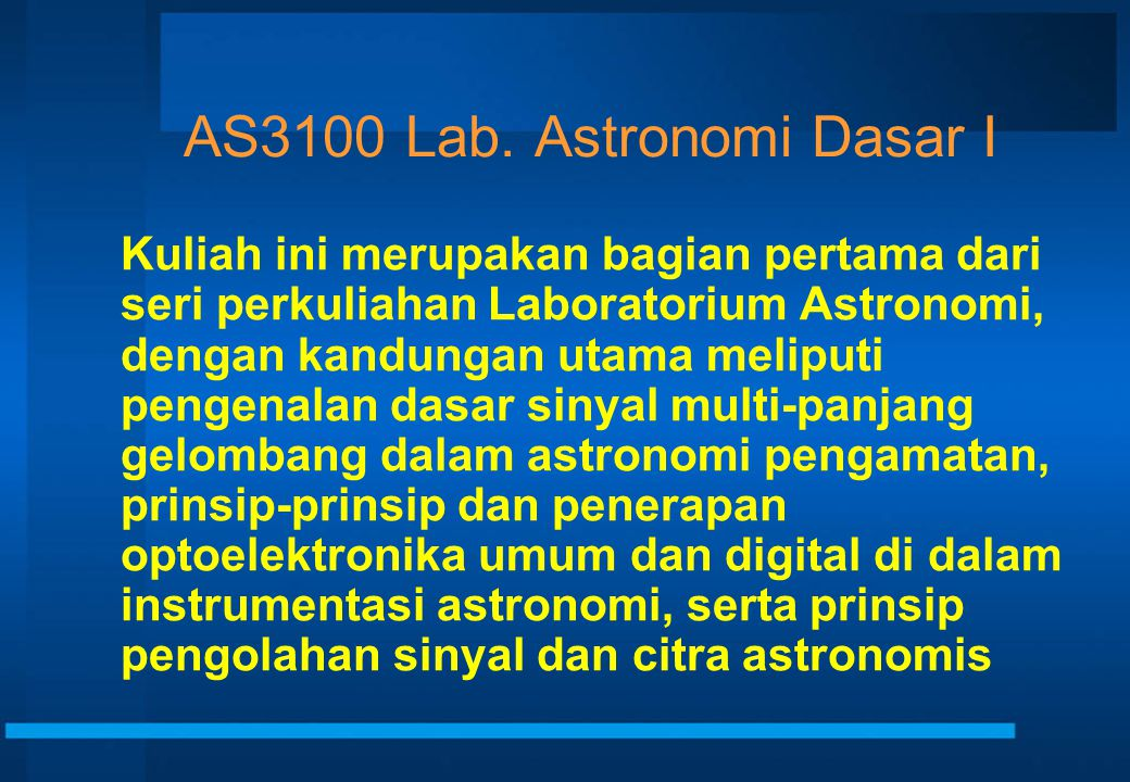 AS3100 Lab. Astronomi Dasar I