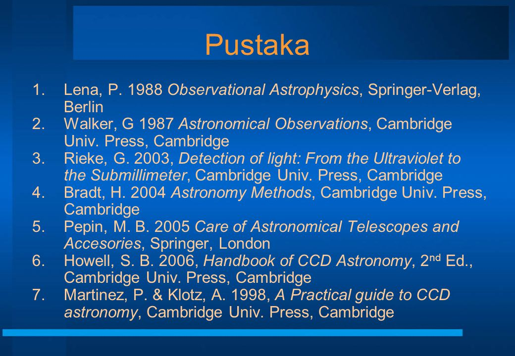 Pustaka Lena, P. 1988 Observational Astrophysics, Springer-Verlag, Berlin.