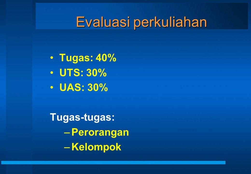 Evaluasi perkuliahan Tugas: 40% UTS: 30% UAS: 30% Tugas-tugas:
