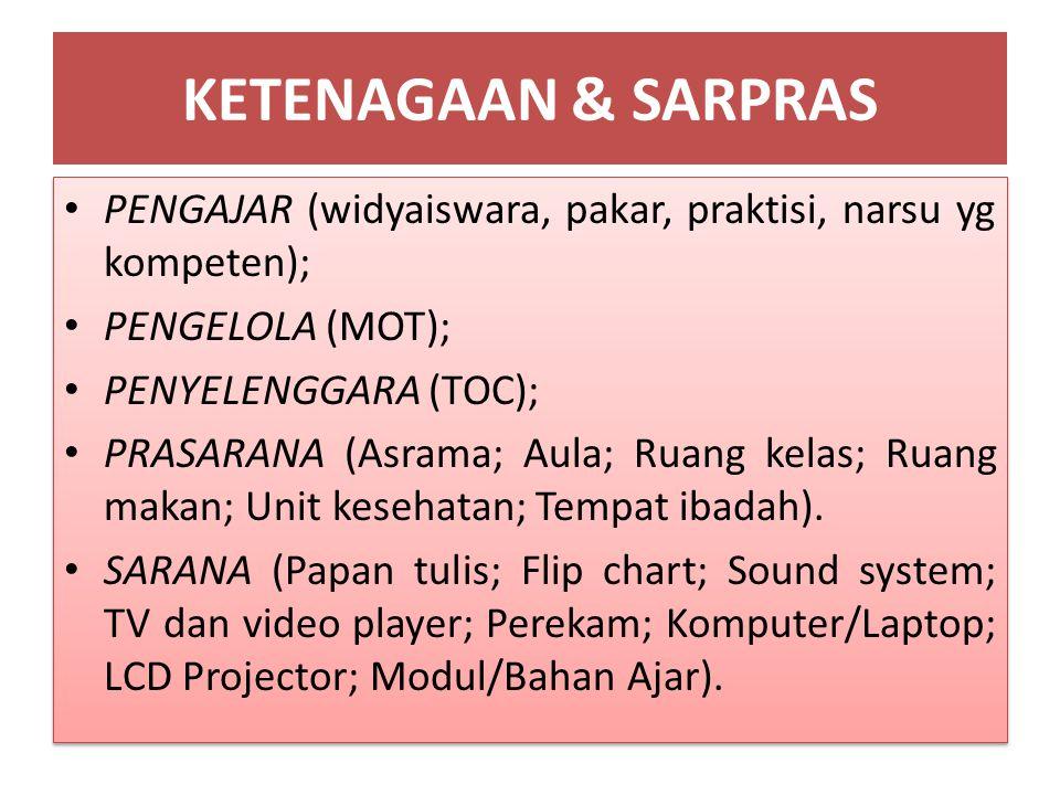 KETENAGAAN & SARPRAS PENGAJAR (widyaiswara, pakar, praktisi, narsu yg kompeten); PENGELOLA (MOT); PENYELENGGARA (TOC);