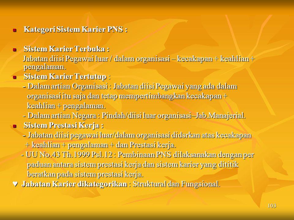 Kategori Sistem Karier PNS :