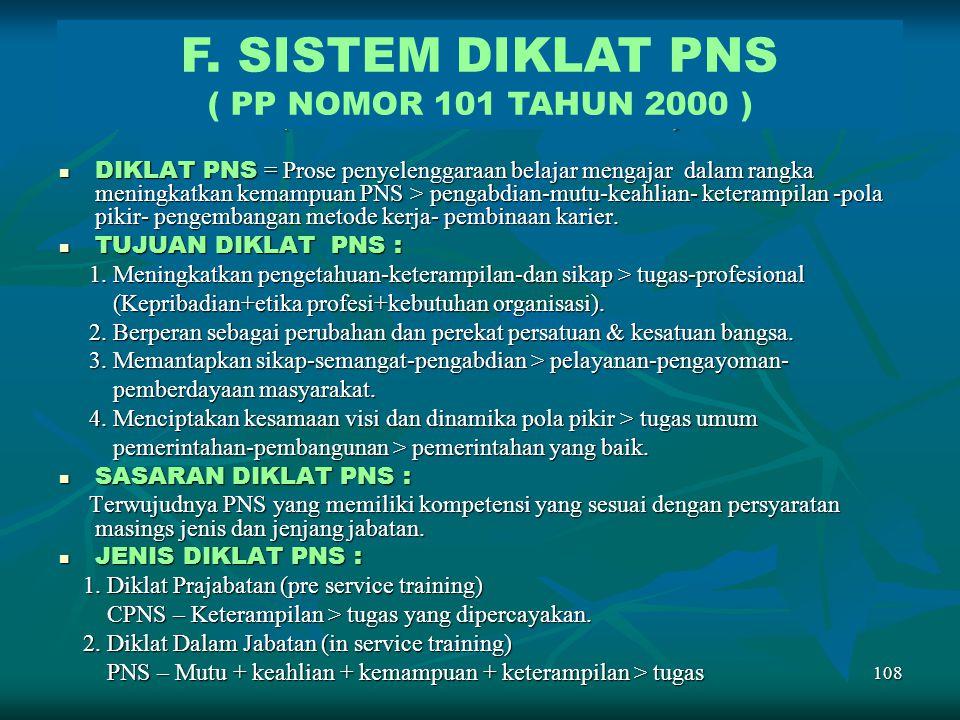 F. SISTEM DIKLAT PNS ( PP Nomor 101 Tahun 2000 )