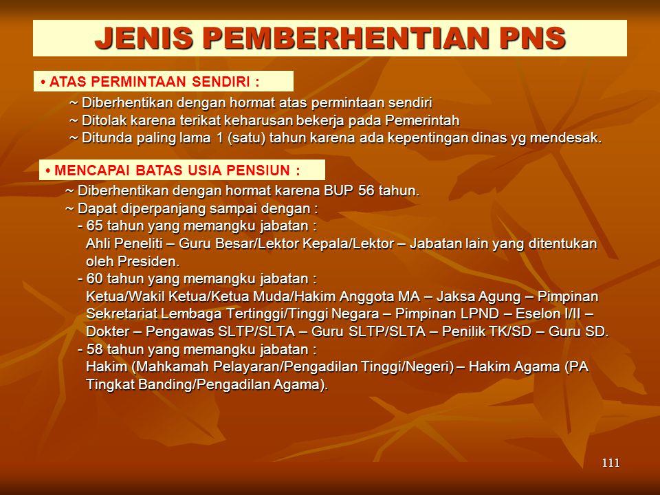 JENIS PEMBERHENTIAN PNS