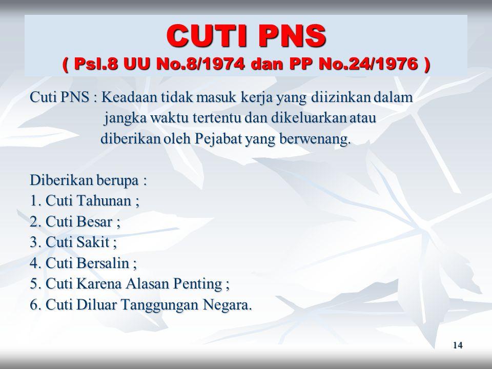 CUTI PNS ( Psl.8 UU No.8/1974 dan PP No.24/1976 )