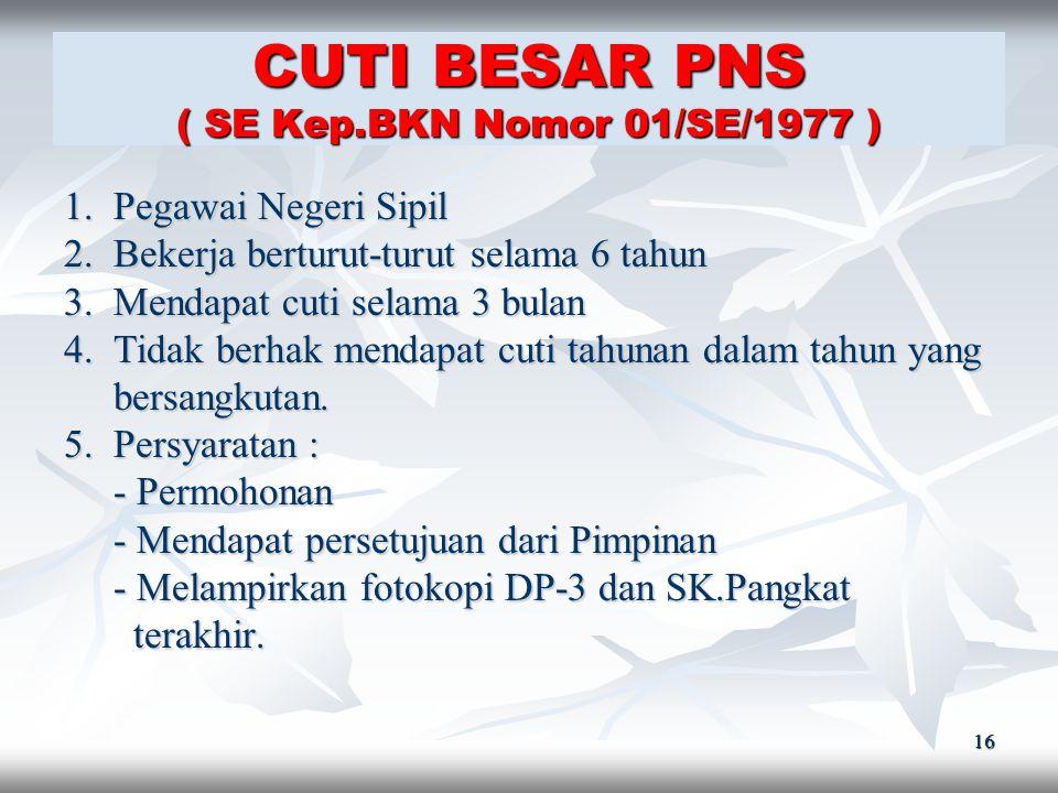 CUTI BESAR PNS ( SE Kep.BKN Nomor 01/SE/1977 )
