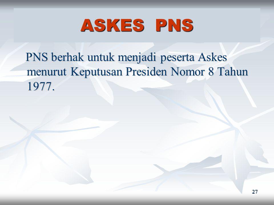 ASKES PNS PNS berhak untuk menjadi peserta Askes menurut Keputusan Presiden Nomor 8 Tahun 1977.