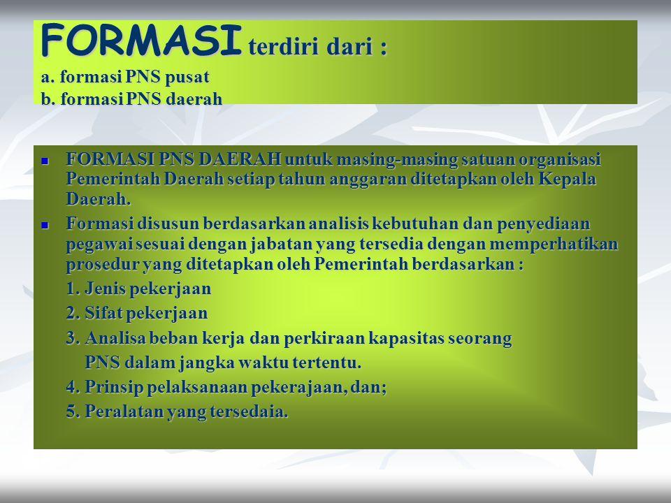 FORMASI terdiri dari : a. formasi PNS pusat b. formasi PNS daerah