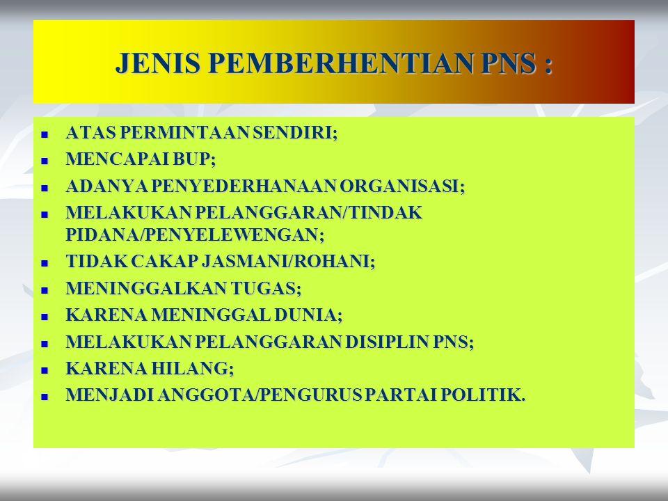 JENIS PEMBERHENTIAN PNS :