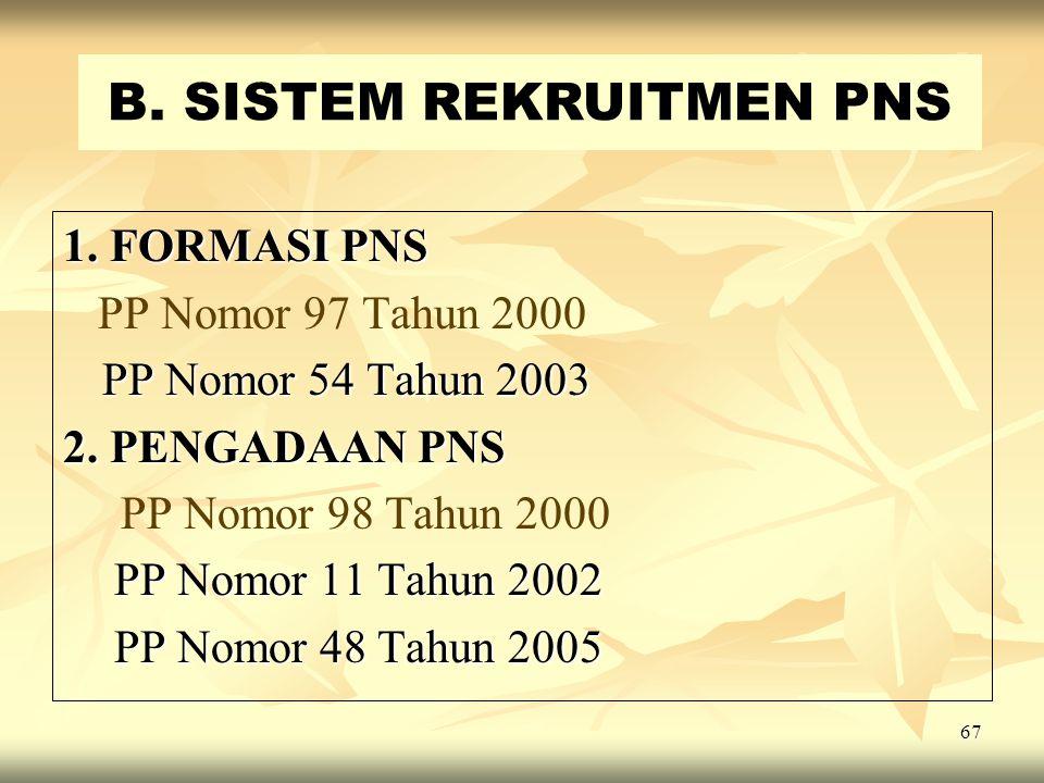B. SISTEM REKRUITMEN PNS