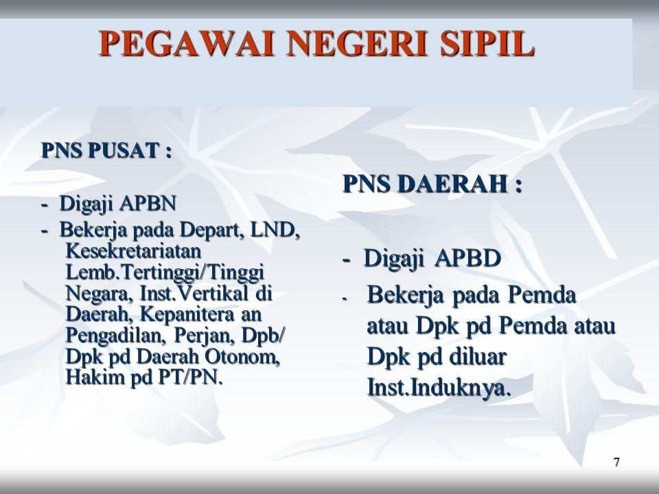 PEGAWAI NEGERI SIPIL PNS DAERAH : - Digaji APBD