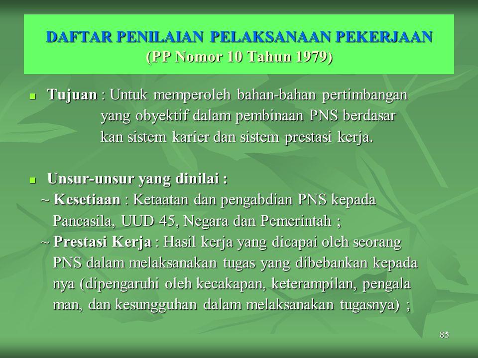 DAFTAR PENILAIAN PELAKSANAAN PEKERJAAN (PP Nomor 10 Tahun 1979)