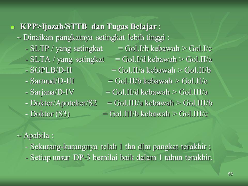 KPP>Ijazah/STTB dan Tugas Belajar :