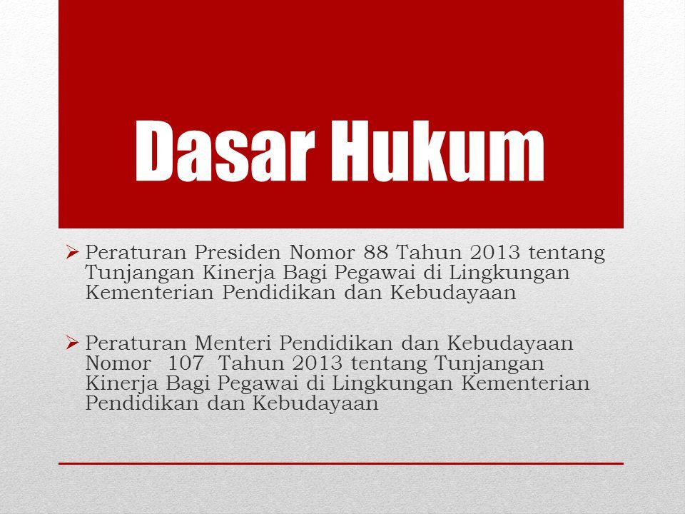Dasar Hukum Peraturan Presiden Nomor 88 Tahun 2013 tentang Tunjangan Kinerja Bagi Pegawai di Lingkungan Kementerian Pendidikan dan Kebudayaan.