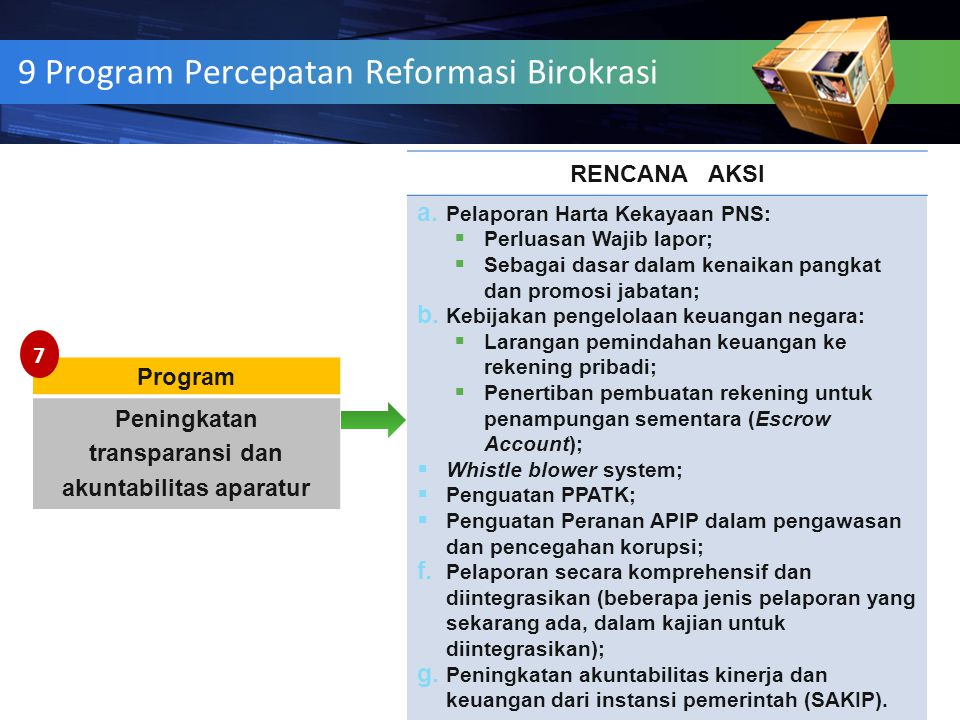 9 Program Percepatan Reformasi Birokrasi