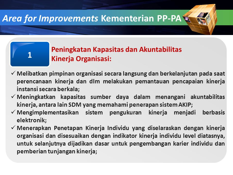 Area for Improvements Kementerian PP-PA