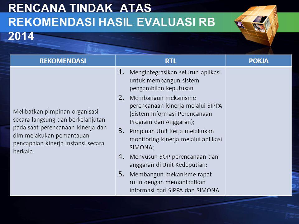 RENCANA TINDAK ATAS REKOMENDASI HASIL EVALUASI RB 2014