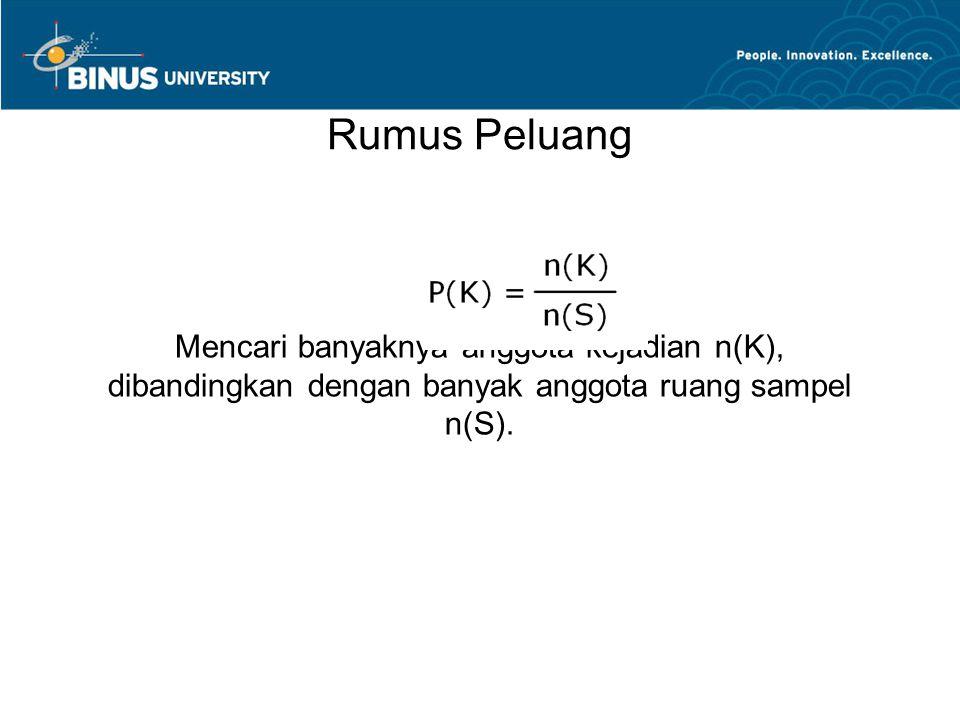 Rumus Peluang Mencari banyaknya anggota kejadian n(K), dibandingkan dengan banyak anggota ruang sampel n(S).