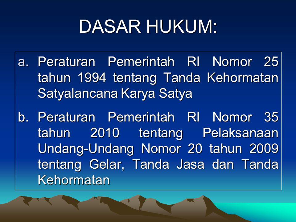 DASAR HUKUM: Peraturan Pemerintah RI Nomor 25 tahun 1994 tentang Tanda Kehormatan Satyalancana Karya Satya.