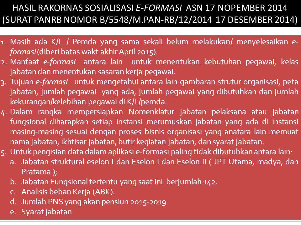 HASIL RAKORNAS SOSIALISASI E-FORMASI ASN 17 NOPEMBER 2014