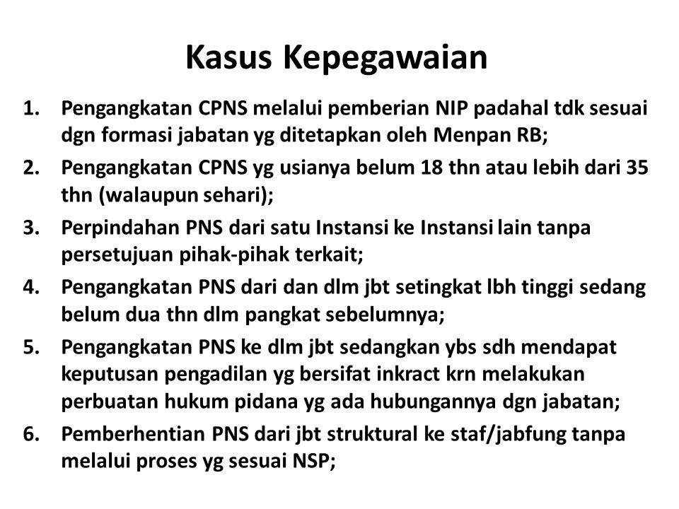 Kasus Kepegawaian Pengangkatan CPNS melalui pemberian NIP padahal tdk sesuai dgn formasi jabatan yg ditetapkan oleh Menpan RB;