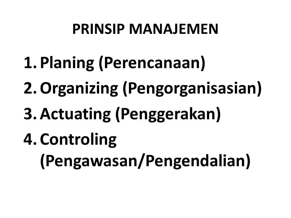 Planing (Perencanaan) Organizing (Pengorganisasian)