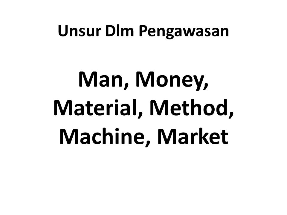 Man, Money, Material, Method, Machine, Market