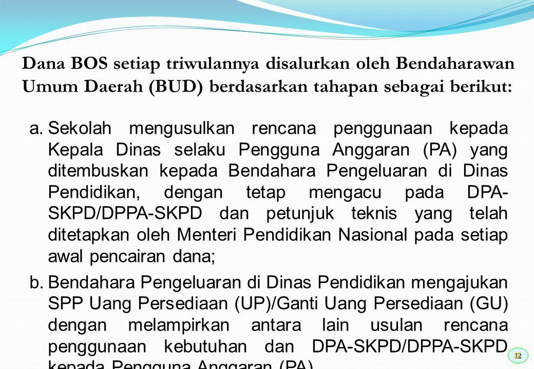 Dana BOS setiap triwulannya disalurkan oleh Bendaharawan Umum Daerah (BUD) berdasarkan tahapan sebagai berikut: