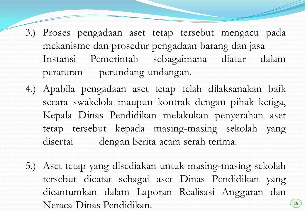 3. ) Proses pengadaan aset tetap tersebut mengacu pada