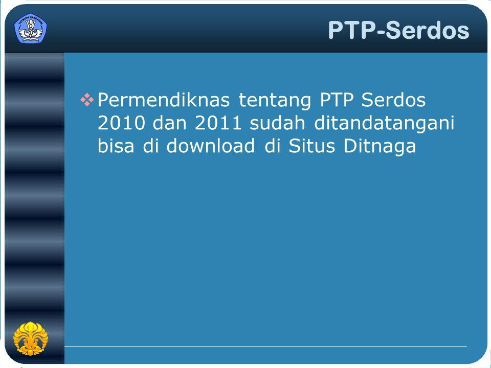 PTP-Serdos Permendiknas tentang PTP Serdos 2010 dan 2011 sudah ditandatangani bisa di download di Situs Ditnaga.