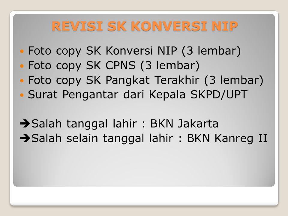 REVISI SK KONVERSI NIP Foto copy SK Konversi NIP (3 lembar)