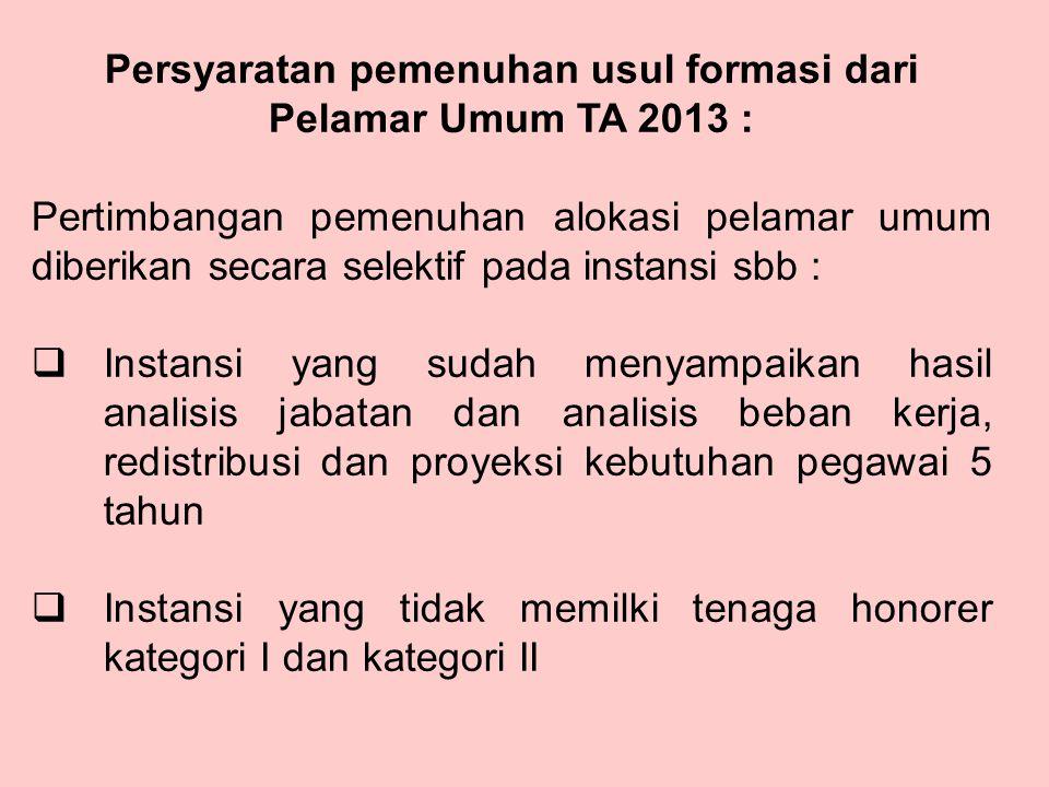 Persyaratan pemenuhan usul formasi dari Pelamar Umum TA 2013 :
