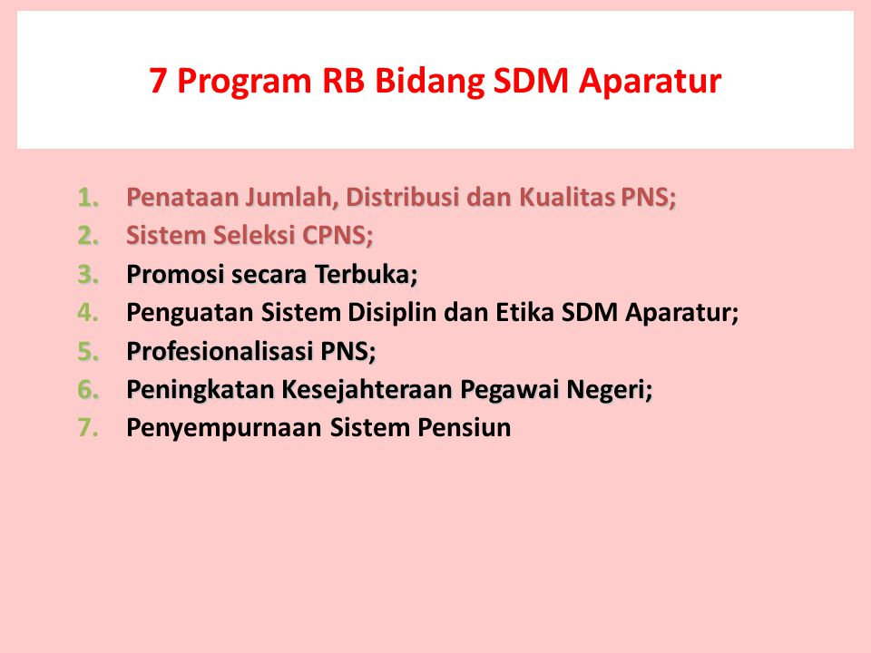 7 Program RB Bidang SDM Aparatur