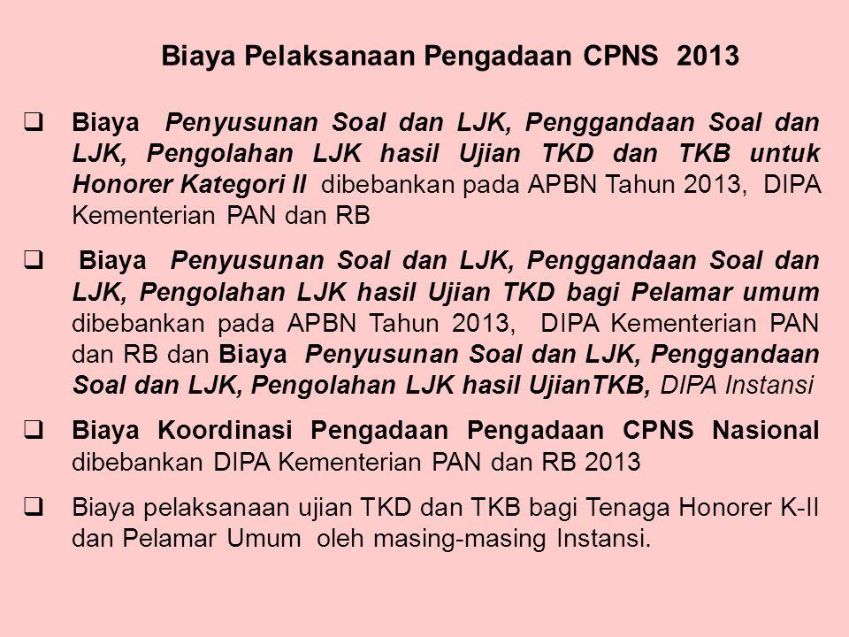 Biaya Pelaksanaan Pengadaan CPNS 2013