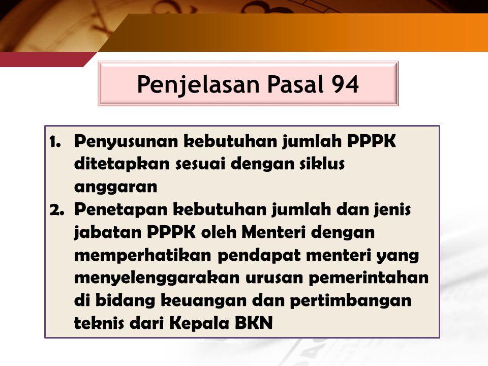 Penjelasan Pasal 94 Penyusunan kebutuhan jumlah PPPK ditetapkan sesuai dengan siklus anggaran.
