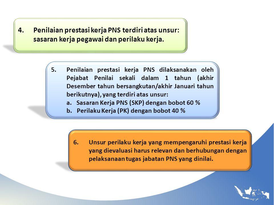 Penilaian prestasi kerja PNS terdiri atas unsur:
