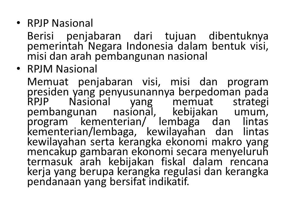 RPJP Nasional Berisi penjabaran dari tujuan dibentuknya pemerintah Negara Indonesia dalam bentuk visi, misi dan arah pembangunan nasional.