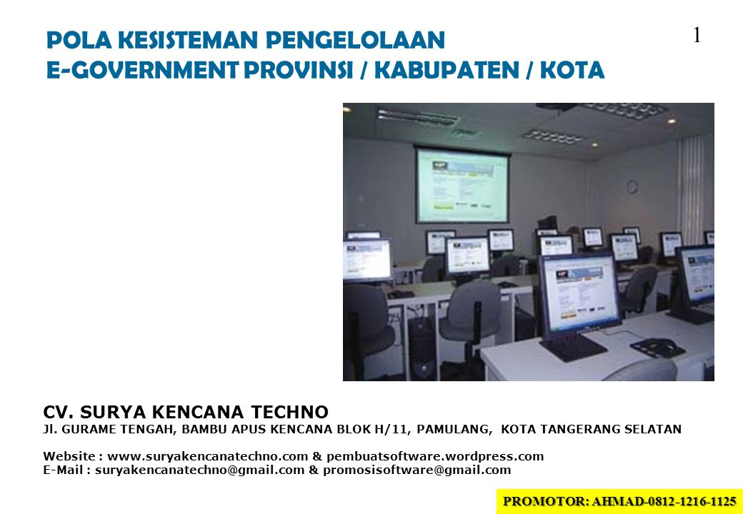 POLA KESISTEMAN PENGELOLAAN E-GOVERNMENT PROVINSI / KABUPATEN / KOTA