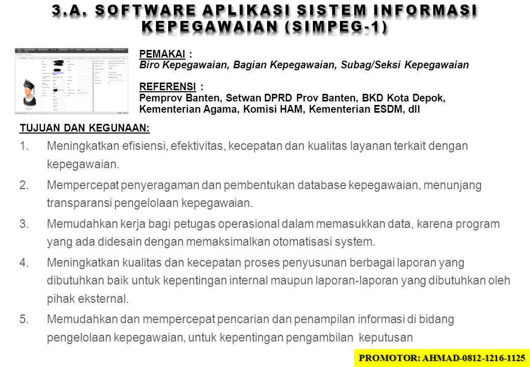 3.A. SOFTWARE APLIKASI sistem INFORMASI KEPEGAWAIAN (SIMPEG-1)