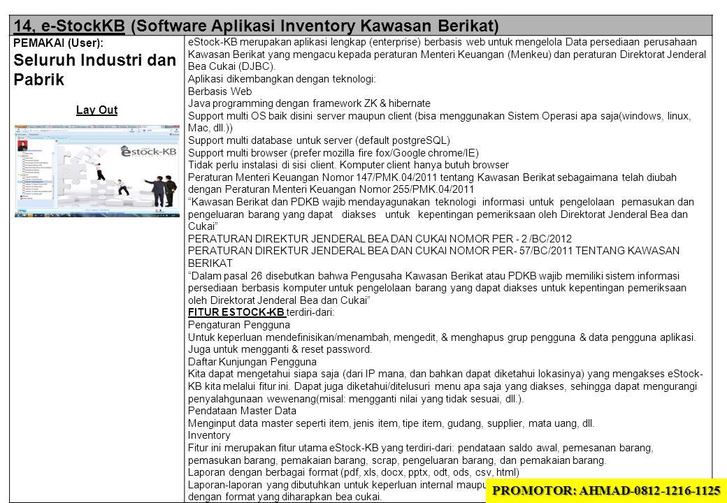 14, e-StockKB (Software Aplikasi Inventory Kawasan Berikat)