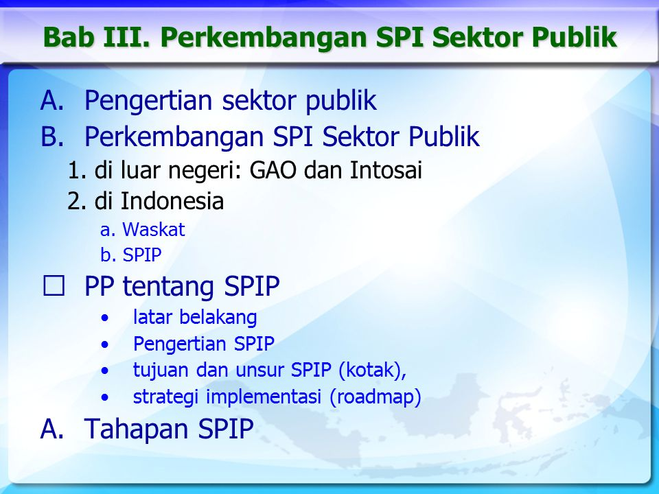 Bab III. Perkembangan SPI Sektor Publik