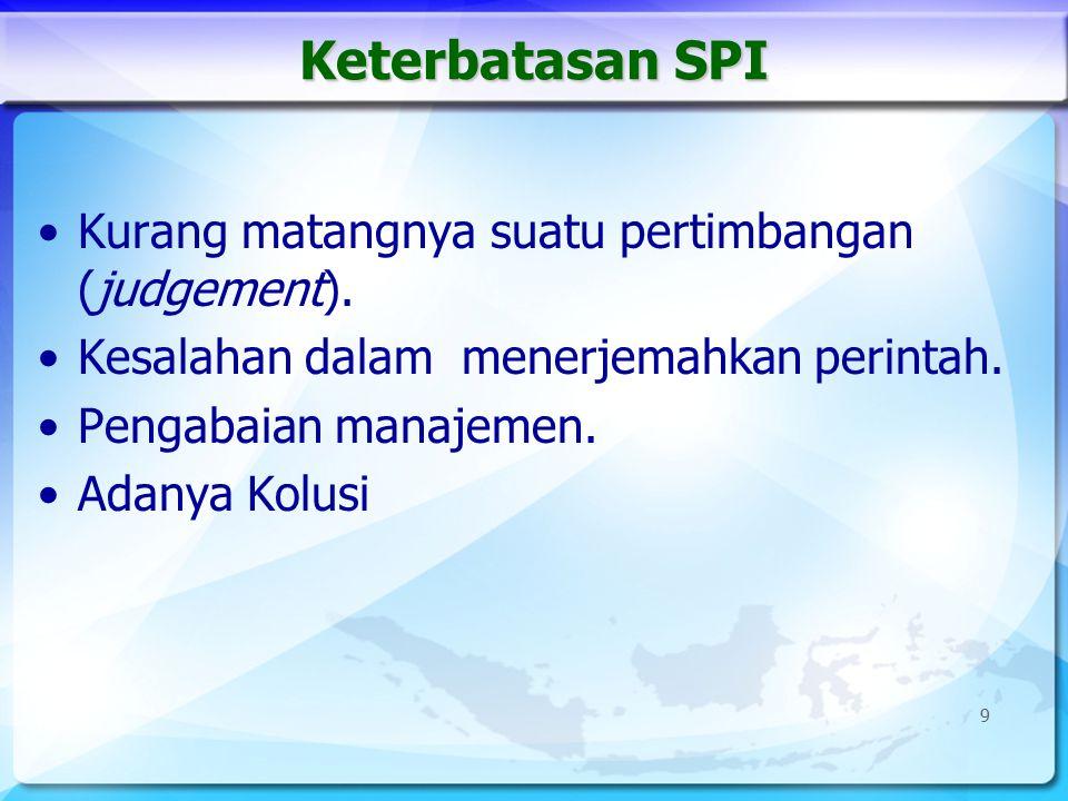 Keterbatasan SPI Kurang matangnya suatu pertimbangan (judgement).