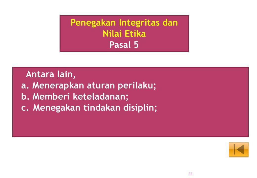 Penegakan Integritas dan Nilai Etika